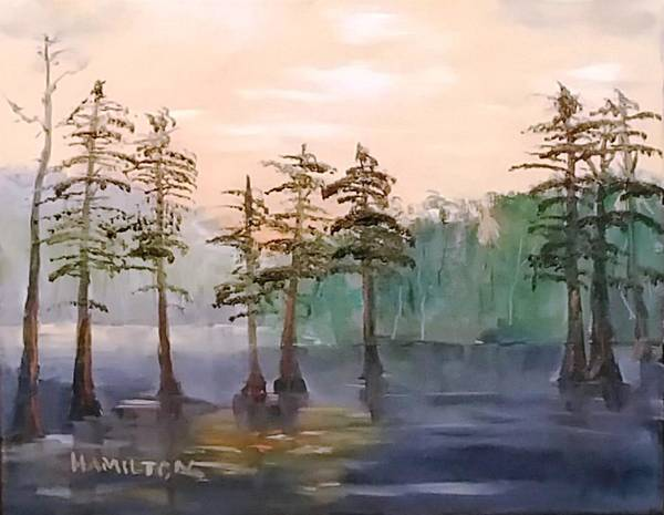 Painting - Cypress Trees by Larry Hamilton