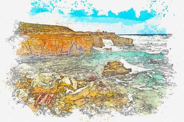 Painting - Cyprus Coastal Seascape 2 -  Watercolor By Ahmet Asar by Ahmet Asar