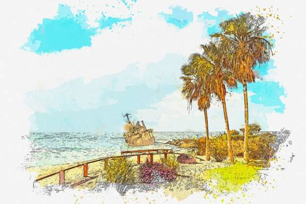 Painting - Cyprus Coastal Seascape 3 -  Watercolor By Ahmet Asar by Celestial Images