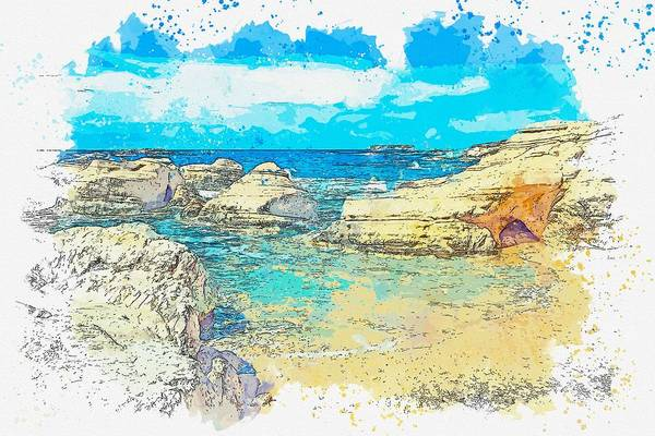 Painting - Cyprus Coastal Seascape -  Watercolor By Ahmet Asar by Celestial Images