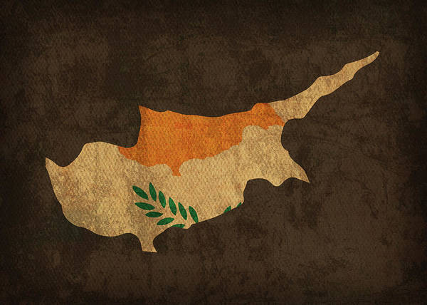 Cyprus Wall Art - Mixed Media - Cyprus Country Flag Map by Design Turnpike
