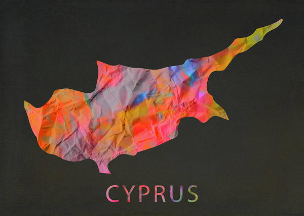 Cyprus Wall Art - Mixed Media - Cyprus Tie Dye Country Map by Design Turnpike