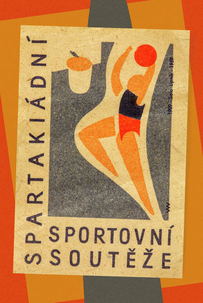 Wall Art - Mixed Media - Czech Matchbox Label Basketball by Carol Leigh