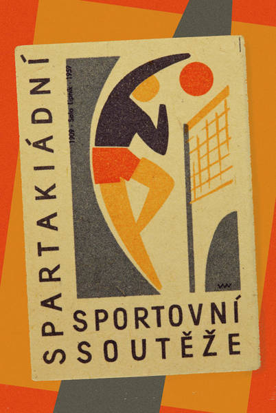 Wall Art - Mixed Media - Czech Matchbox Label Volleyball by Carol Leigh