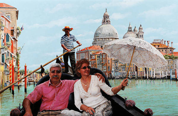 Wall Art - Painting - D And His Wife In Venice by Guido Borelli