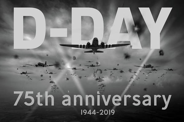 Photograph - D-day 75th Poster Bw Version by Gary Eason