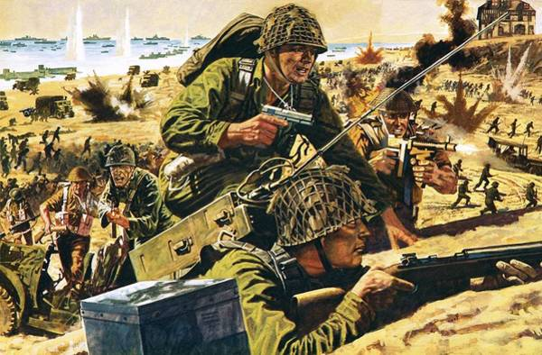 Daring Painting - D Day Landing by English School