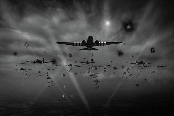 Photograph - D-day Paratroop Dakotas Black And White Version by Gary Eason