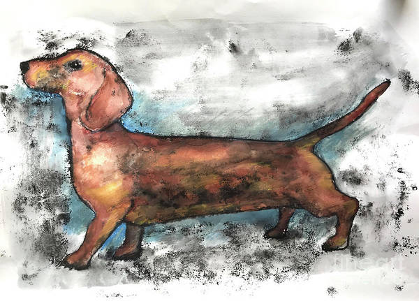 Engels Painting - Dachshund 2018 by Sarah Thompson-Engels