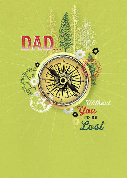 Wall Art - Digital Art - Dad Compass by A.v. Art