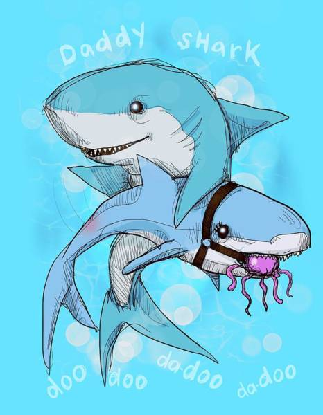 Shark Drawing - Daddy Shark by Ludwig Van Bacon