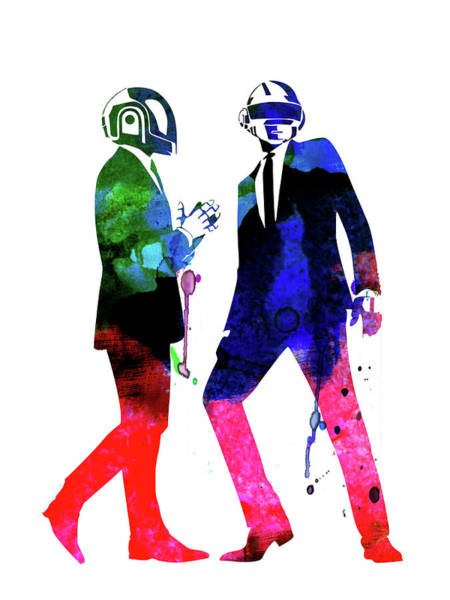 Rock And Roll Mixed Media - Daft Punk Watercolor by Naxart Studio