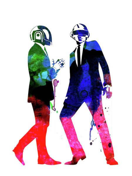 Rock Mixed Media - Daft Punk Watercolor by Naxart Studio