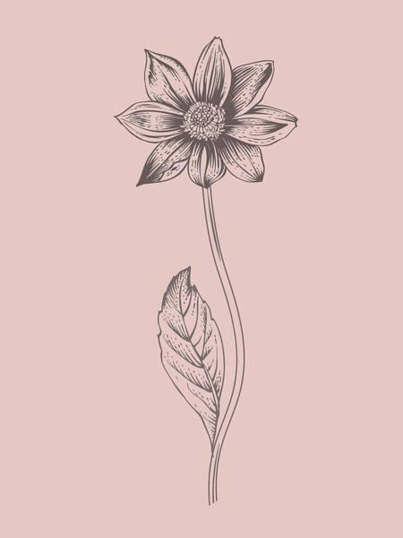 Bouquet Mixed Media - Dahlia Blush Pink Flower by Naxart Studio