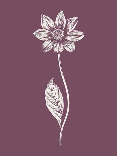 Bouquet Mixed Media - Dahlia Purple Flower by Naxart Studio