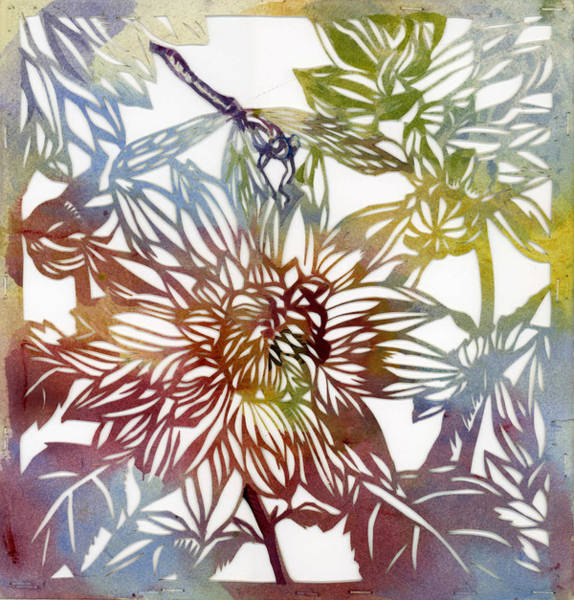 Painting - Dahlia With Dragonfly Paper Cut by Alfred Ng