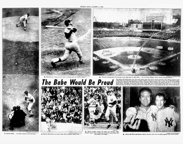 Mickey Mantle Wall Art - Photograph - Daily News Centerfold Page 80 - 81 by New York Daily News Archive