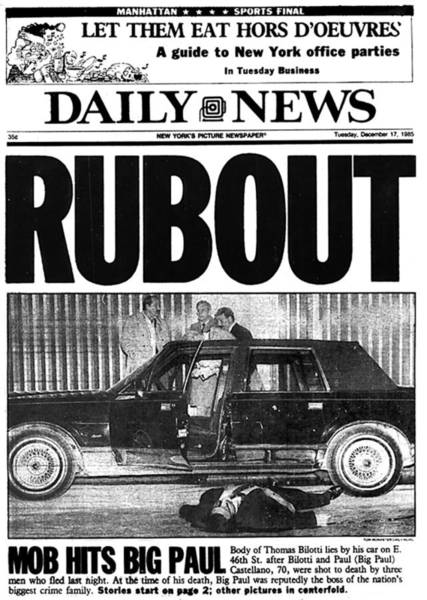 Front Page Photograph - Daily News Front Page Rubout by New York Daily News Archive