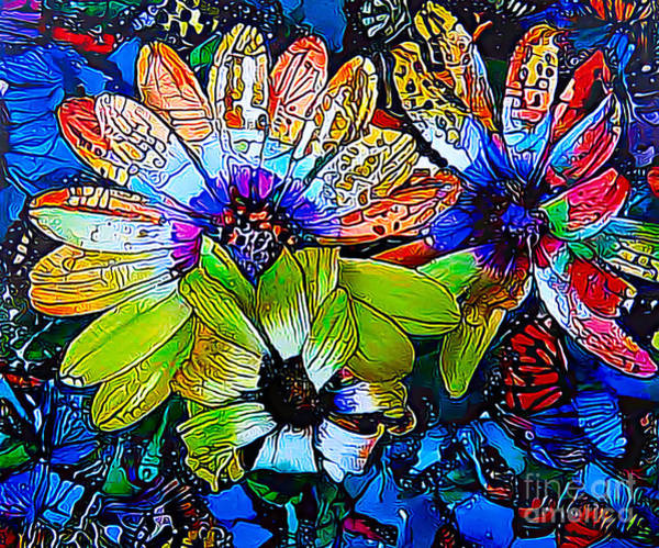 Variation Mixed Media - Daisy Abstract by Trudee Hunter