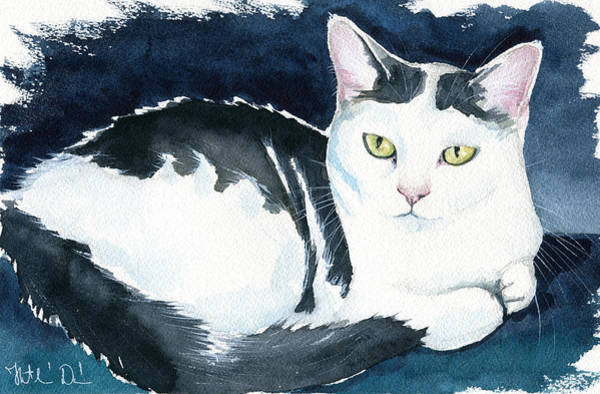 Painting - Daisy Cat Painting by Dora Hathazi Mendes