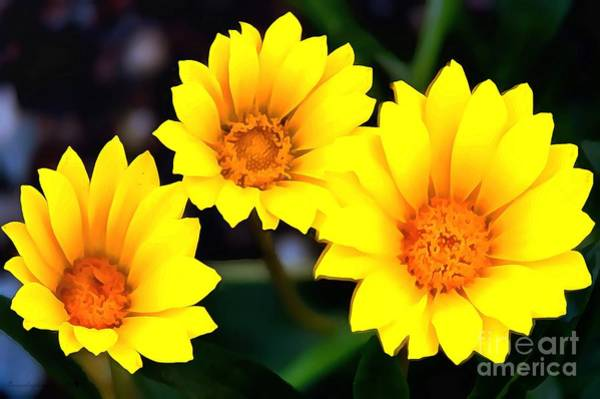 Painting - Daisy Trio Yellow In Acrylic by Catherine Lott