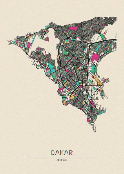 Wall Art - Drawing - Dakar, Senegal City Map by Inspirowl Design