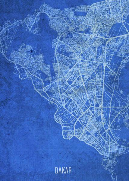 Wall Art - Mixed Media - Dakar Senegal City Street Map Blueprints by Design Turnpike