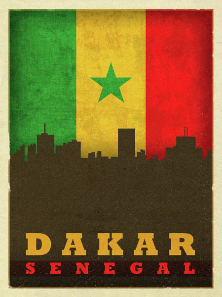 Wall Art - Mixed Media - Dakar Senegal World City Flag Skyline by Design Turnpike