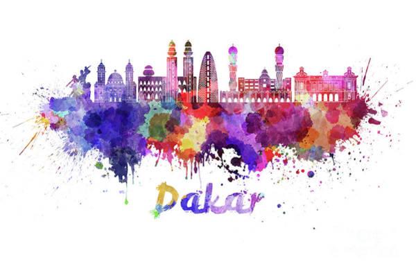 Wall Art - Painting - Dakar Skyline In Watercolor Splatters  by Pablo Romero
