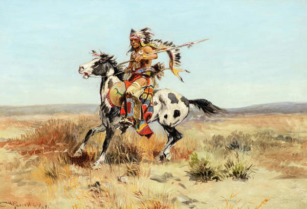 Wall Art - Painting - Dakota Chief, 1897 by Charles M Russell
