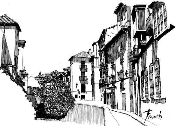 Handmade Wall Art - Digital Art - Dal Ponte, Italia. Handmade Street Sketch by Drawspots Illustrations