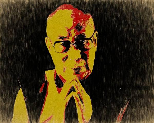 Dalai Lama Wall Art - Mixed Media - Dalai Lama by Dan Sproul