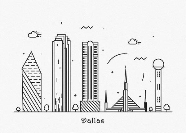 Landmark Center Drawing - Dallas Cityscape Travel Poster by Inspirowl Design