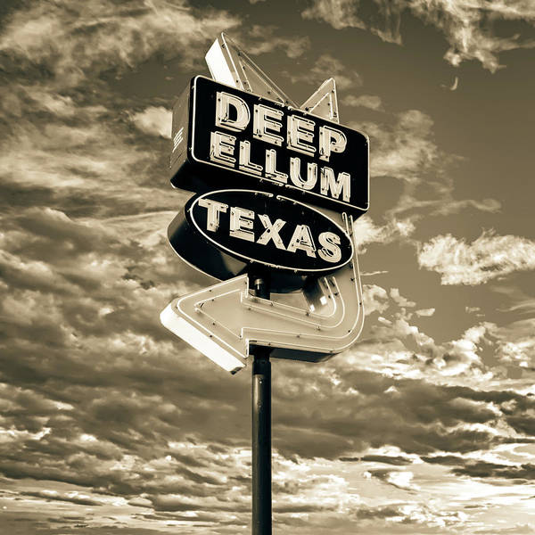 Photograph - Dallas Deep Ellum Texas Vintage Neon And Clouds - Sepia by Gregory Ballos