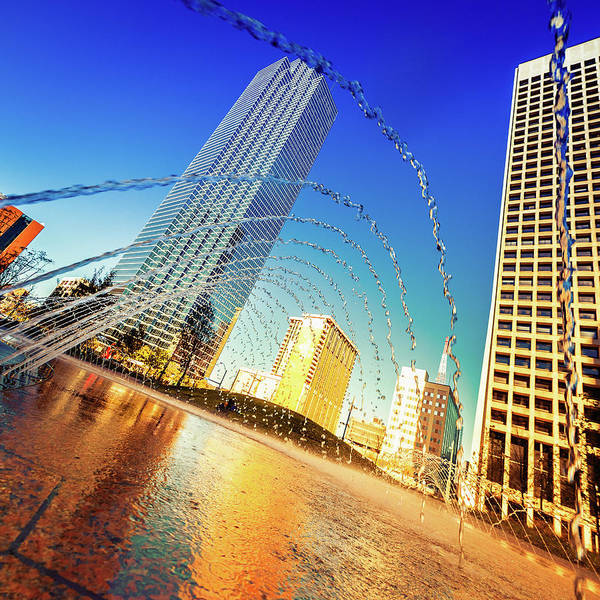 Unusual Perspective Wall Art - Photograph - Dallas Downtown, Water Games In A by Moreiso