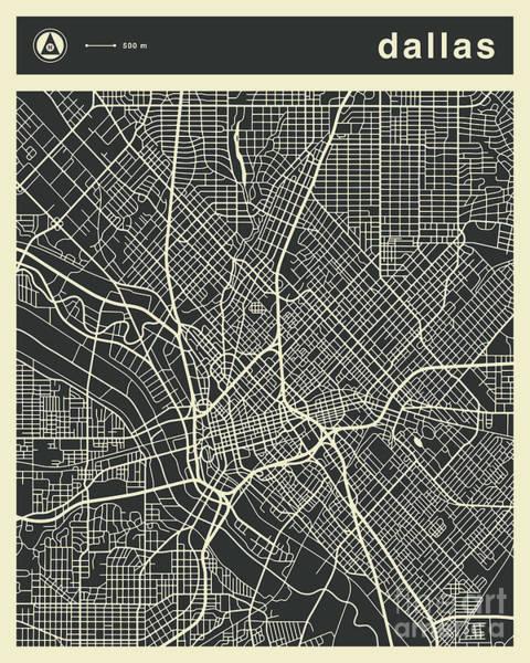 Wall Art - Digital Art - Dallas Map 3 by Jazzberry Blue