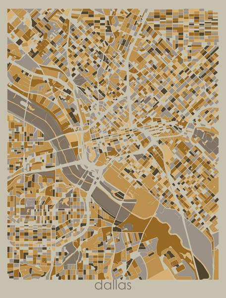 Wall Art - Digital Art - Dallas Map Retro 4 by Bekim M