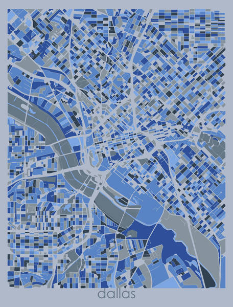 Wall Art - Digital Art - Dallas Map Retro 5 by Bekim M