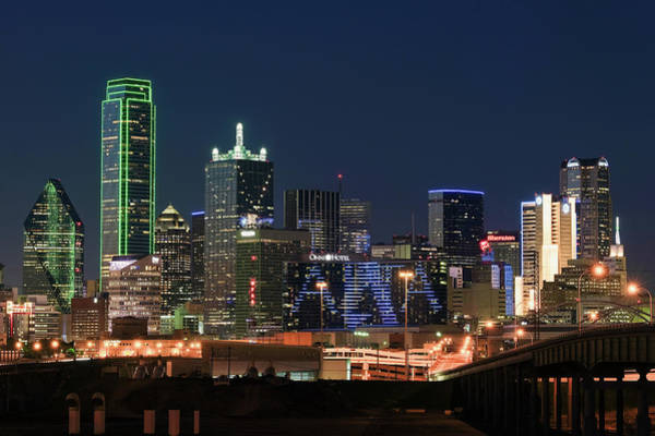 Photograph - Dallas Night Skyline 032119a by Rospotte Photography