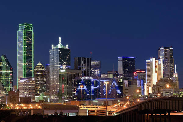 Photograph - Dallas Night Skyline 071119 by Rospotte Photography