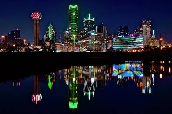 Wall Art - Photograph - Dallas Reflecting At Night by Frozen in Time Fine Art Photography