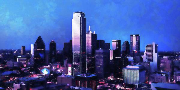 Painting - Dallas Skyline - 01 by Andrea Mazzocchetti