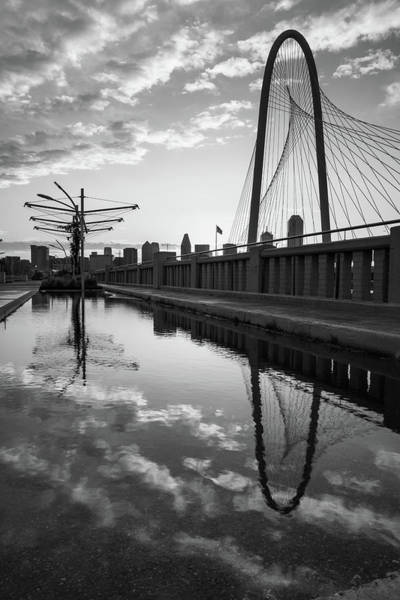 Photograph - Dallas Skyline And Margaret Hunt Hill Bridge Reflections - Monochrome Edition by Gregory Ballos