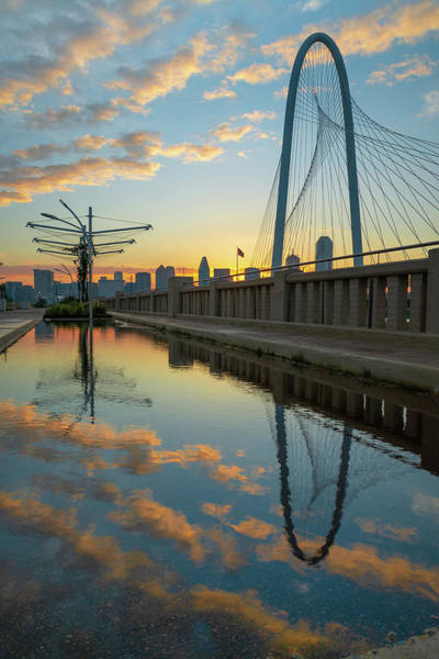 Photograph - Dallas Skyline And Margaret Hunt Hill Bridge Sunrise Reflections by Gregory Ballos