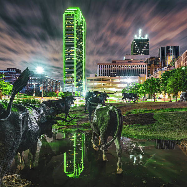 Photograph - Dallas Skyline And Texas Longhorn Cattle Drive Sculptures by Gregory Ballos
