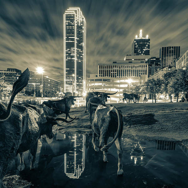 Photograph - Dallas Skyline And Texas Longhorn Cattle Drive Sculptures - Sepia by Gregory Ballos