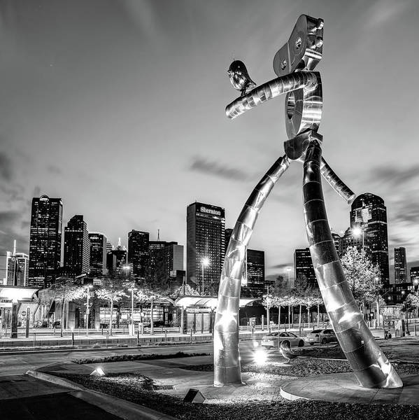 Photograph - Dallas Skyline And Traveling Man In Black And White - 1x1 by Gregory Ballos