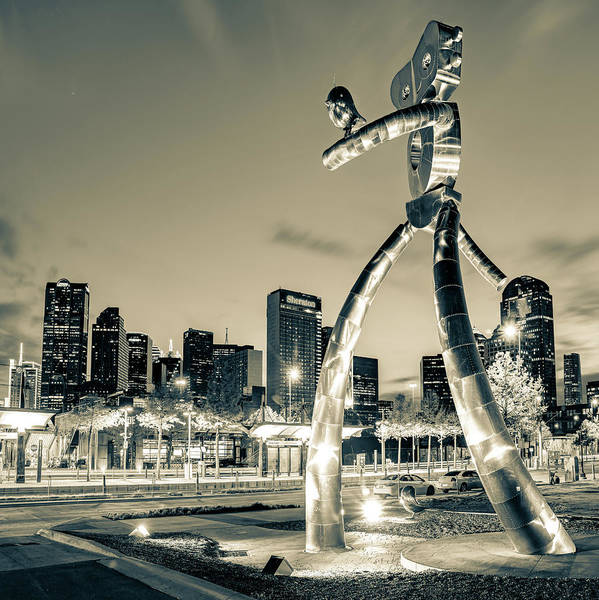 Photograph - Dallas Skyline And Traveling Man In Sepia - 1x1 by Gregory Ballos