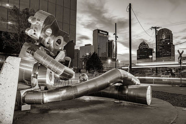 Photograph - Dallas Skyline And Traveling Man Waiting On A Train - Sepia Edition by Gregory Ballos