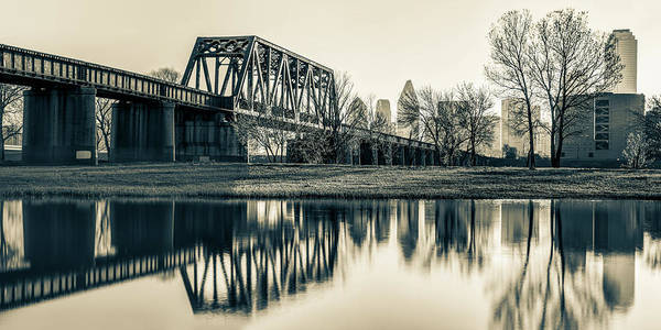Photograph - Dallas Skyline And Trinity River Panorama - Sepia by Gregory Ballos
